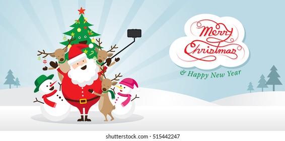 Christmas, Santa Claus and Friends Selfie, Snow Scene, Snowman, Snowgirl, Reindeer, Pine Tree. Happy New Year