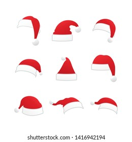 Christmas Santa Claus Hats Collection Isolated on White Background. Vector Santa Claus Hat Set, Holidays Cap to Xmas Illustration.