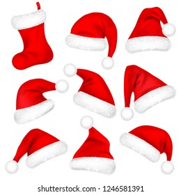 Christmas Santa Claus Hats With Fur Set, Sock. New Year Red Hat Isolated on White Background. Winter Cap. Vector illustration.