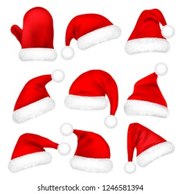 Christmas Santa Claus Hats With Fur Set, Mitten. New Year Red Hat Isolated on White Background. Winter Cap. Vector illustration.