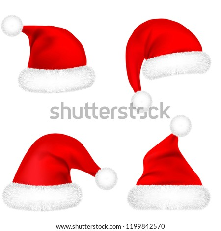 eedaefcefda Christmas Santa Claus Hats With Fur Set. New Year Red Hat Isolated on White  Background