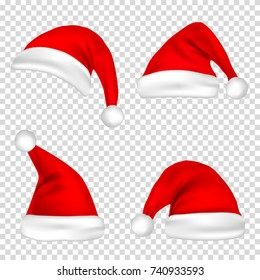 Christmas Santa Claus Hats Set. New Year Red Hat Isolated on Transparent Background. Vector illustration.