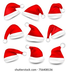ec79a51e689 Christmas Santa Claus Hats With Shadow Set. New Year Red Hat Isolated on  White Background