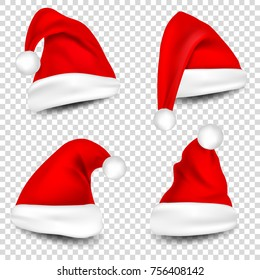 4af879f252b32 Christmas Santa Claus Hats With Shadow Set. New Year Red Hat Isolated on  Transparent Background