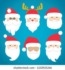 Christmas Santa Claus head and face in different costumes, cute fashionable Santa, different emotions, set of vector illustration