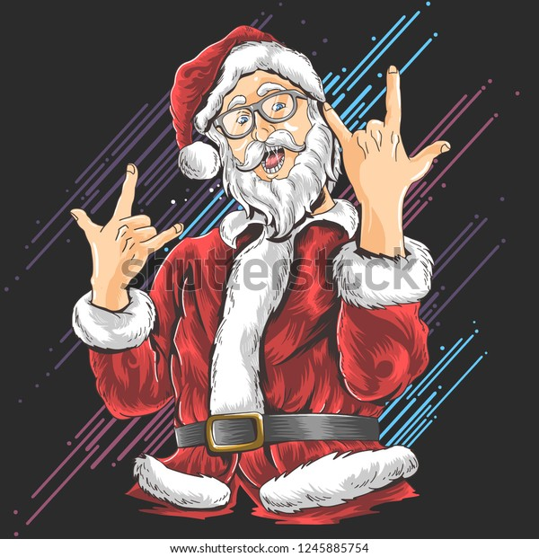 Heavy Metal Christmas.Christmas Santa Claus Heavy Metal Stock Vector Royalty Free