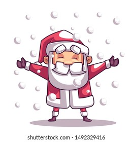 Christmas Santa Claus Is Playing With Snow.Vector Illustration Isolated On White Background