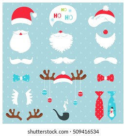 Christmas Santa Claus and Reindeer Photo Booth Props Set