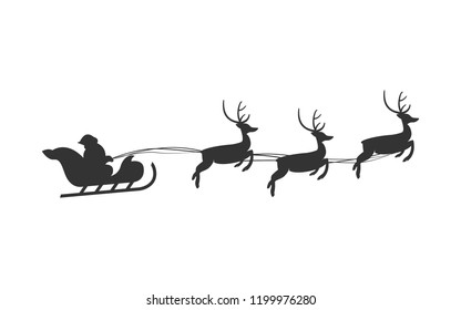 Christmas Santa Claus Reindeer Sleigh, Merry Christmas Vector Isolated Illustration Background