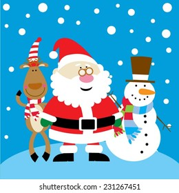Christmas Santa Claus with a reindeer and a snowman standing outside in the snow
