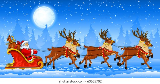 Christmas Santa Claus riding on sleigh with reindeers by snow. Vector illustration