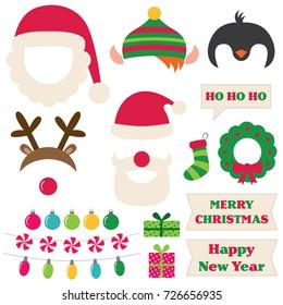 Christmas Santa, elf, deer and penguin vector photo booth props