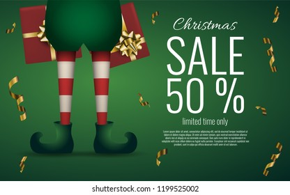 Christmas Santa elf's legs on green background. Sale banner or flyer. Stock vector