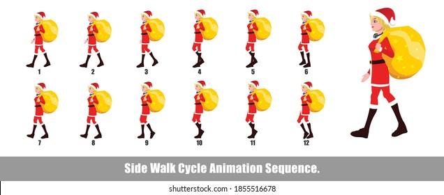 Christmas Santa Girl Walk Cycle Animation, Loopable Walk cycle animation of Christmas Santa Girl, Santa Girl Walking With gifts animation sequence for animation