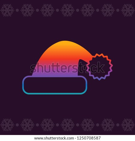 638f82e6b89c7 Christmas Santa hat. Modern colors. Line art vector icon in bright novelty  gradients for
