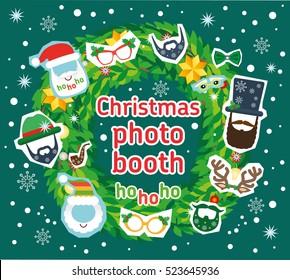 e2ed4cc2de405 Christmas Santa photo booth vector props and decoration Flat. Scrapbooking  set. Glasses