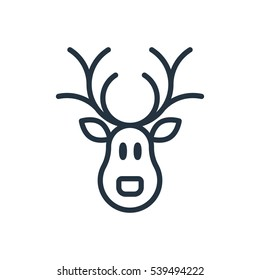 christmas santa reindeer line web icon on white background