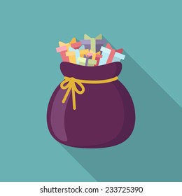 Christmas santa's bag with different gifts and presents  icon with long shadow. Vector illustration minimal flat design.