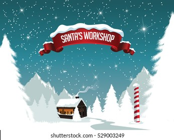Christmas Santa's workshop at the scenic north pole. EPS 10 vector.