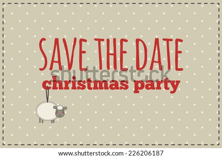 christmas save the date card illustration of christmas sheep with gift bow on a polka