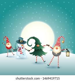 Christmas scandinavian gnomes and snowman on moonlight winter scene