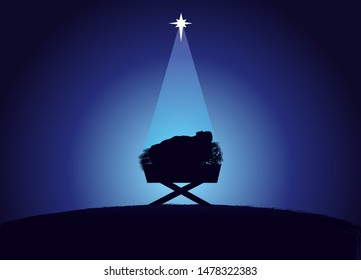 Christmas scene of baby Jesus in the manger in silhouette, surrounded by light of star. Christian Nativity greeting card with illustration birth of Christ, vector banner
