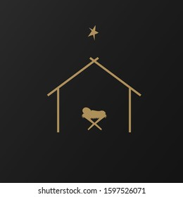 Christmas scene of baby Jesus in a manger in silhouette, Christian Christmas star with the text Birth of Christ, vector banner