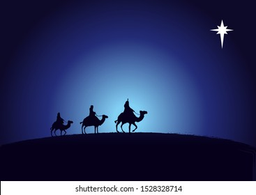 Christmas scene kings wise men in silhouette and star on navy blue background. Christian Nativity greeting card birth of Christ, vector banner or greeting card