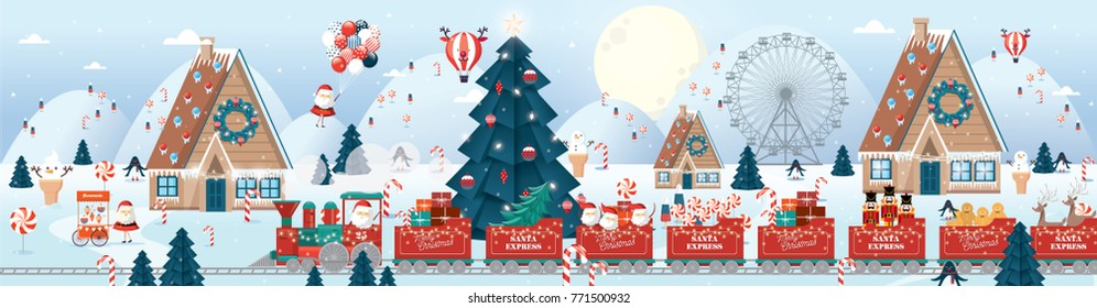 christmas scene/greetings template vector/illustration