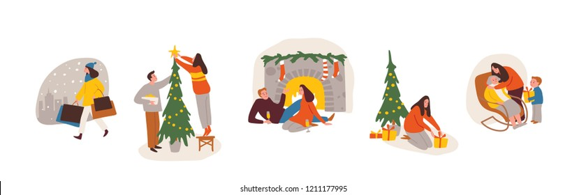 Christmas scenes, etudes, sketches. People performing different activities. Set of people. Christmas holidays. Winter season.