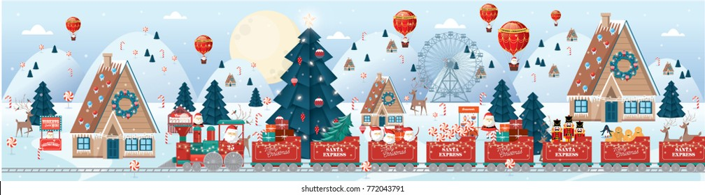 christmas scene/village vector/illustration