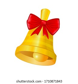 Christmas or school bell with a bow. Vector illustration