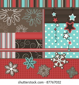 Christmas scrapbook elements, vector