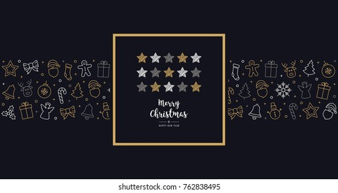 christmas scribble stars card icon elements text greeting frame golden blue background