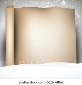 Christmas scroll background with snow. Vector paper illustration.