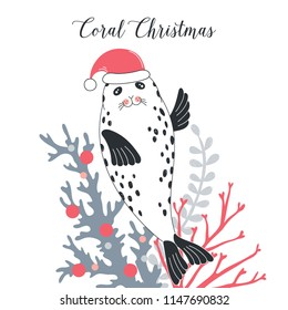 Christmas Seal in Santa hat, whimsical art
