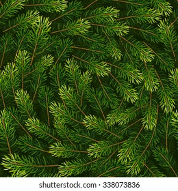 Christmas seamless background from fir tree branches. Vector illustration for your design