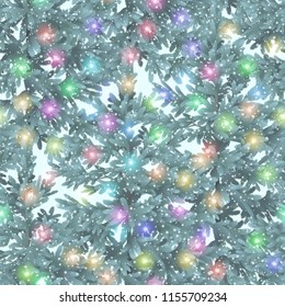 Christmas Seamless Background, Green Fir Trees and Colorful Stars, Tile Holiday Pattern. Vector