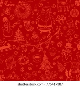Christmas seamless background with hand drawn symbols for banners, backgrounds, presentations, decorations.