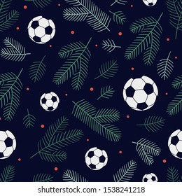 Christmas seamless background made of soccer balls, spruce twigs and small dots. Can be used for postcards, invitations, advertising, web, textile and other.