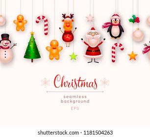 Christmas seamless background. New year and xmas decoration. Set of hanging christmas ornaments and toys - santa claus, reindeer, christmas tree, snowman, star, candy cane, holly. Vector illustration.