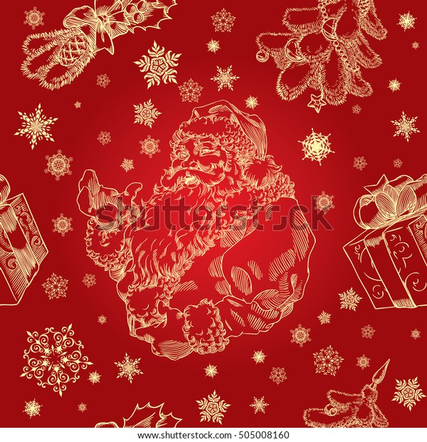 Christmas seamless background with Santa Claus