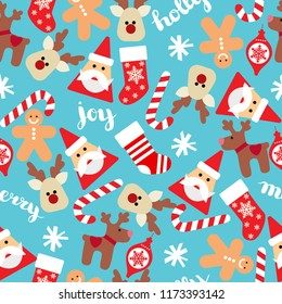 Christmas seamless background with Santa, socks, gift boxes and candy canes. Vector seamless flat pattern with icons of Happy New Year and Christmas Day