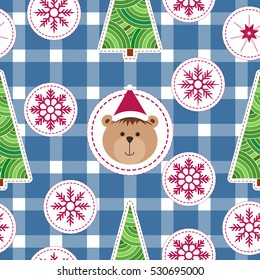 Christmas seamless Background with snowflake, christmas tree and teddy bear in Santa hat. Modern xmas Pattern for winter holiday design, Embroidery stylization. brown bear cub