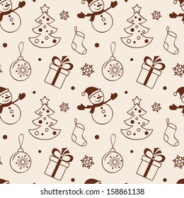 Christmas seamless background with snowman, fir tree, gift, sock and baubles