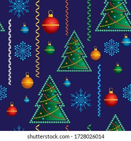 Christmas seamless background. Christmas tree with Christmas toys, snowflakes. Ideal for Holiday Paper and Fabric Print or packaging decoration holiday