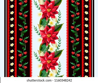 Christmas seamless border with flowers poinsettia, holly berry and firs.