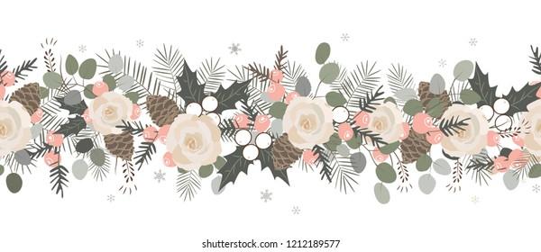 Christmas seamless garland. Vector hand drawn illustration.