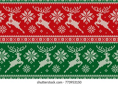 Christmas Seamless Knit Pattern with with Reindeer and Snowflakes. Scheme for Cross Stitch Embroidery and Knitted Sweater Pattern Design