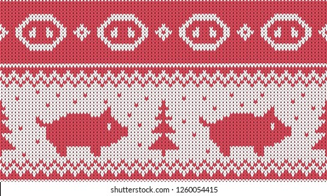 Christmas seamless knitted pattern with piglet and the fir christmas trees. Happy new 2019 year - chinese new year of the earth pig vector illustration.